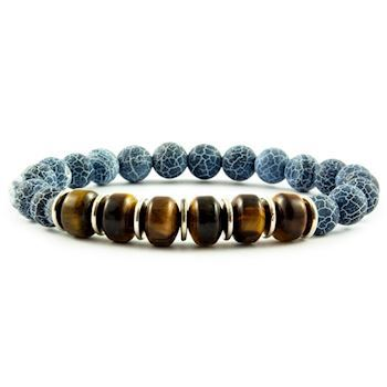 Armbånd Grey Blue & Tiger Stone