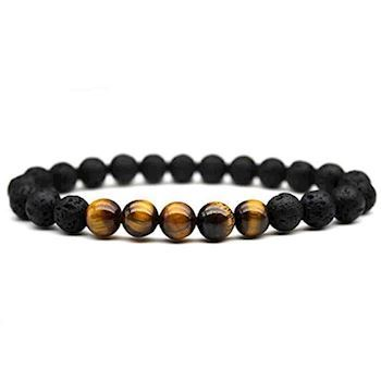 Tiger Eye & Sort Lava Sten Armbånd