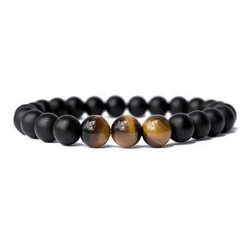 Armbånd Sten Agat Sort & Brun Tiger Eye
