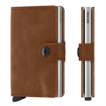 Secrid Mini Wallet Cognac Brown & Silver