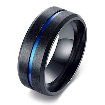 Ring Dark Grey & Blue Stripe