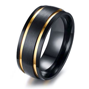 Ring Duo Gold Stripe & Black