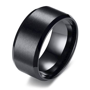 Ring Black Matte Steel Wide 10 mm