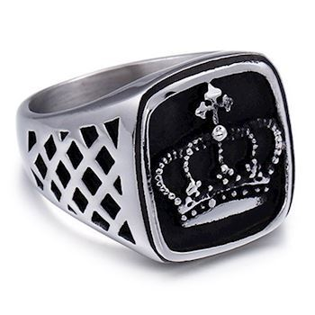 Herre Ring Black & Steel Crown