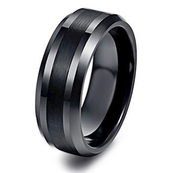 Ring Tungsten Raw Black Stripe