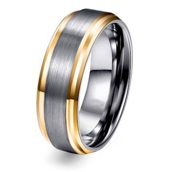 Ring Tungsten Brushed Grey & Gold