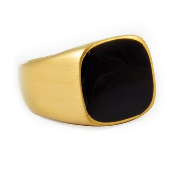 Herre Ring Matte Gold & Black