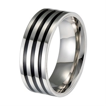 Herre Ring Triple Black & Steel Design