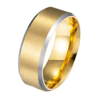 Herre Ring Steel Og Mat Gold Design