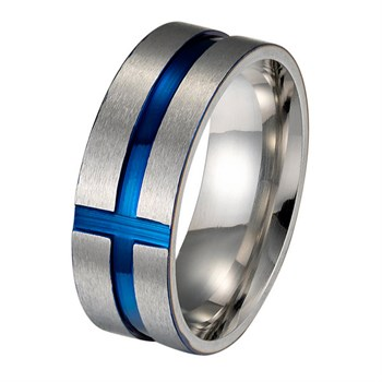 Ring Steel & Blue Cross