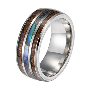 Ring Steel & Wood Stripes