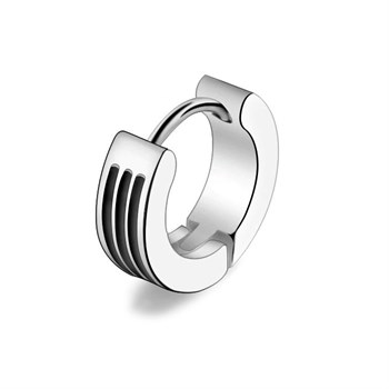 Maskulin Ørering Tripple Black Stripe