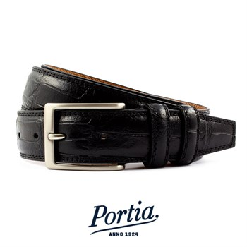 Portia Bælte Croco Design Italy Sort