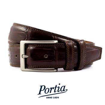 Portia Bælte Croco Design Italy Dark Brown