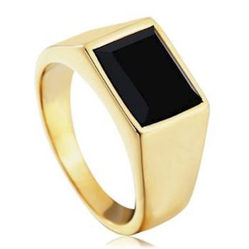 Herre Ring Gold Black Stone Classic