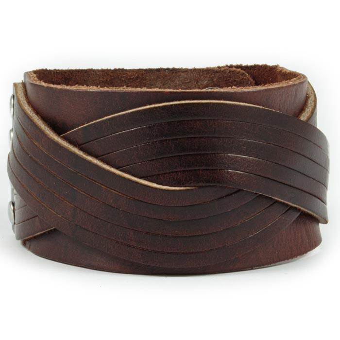Bredt Læder Armbånd til Mænd Mørkebrun