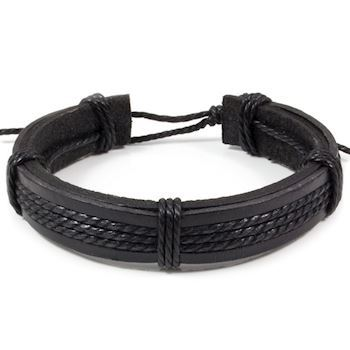 "Armbånd Læder ""Pieces"" String Black"