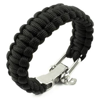 Paracord Armbånd Stainless Steel Sort