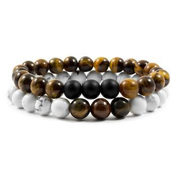 Herre Armbånd Duo Stone Brown & White