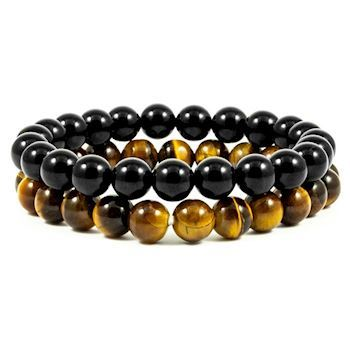 Armbånd Sort Agat & Tiger Eye