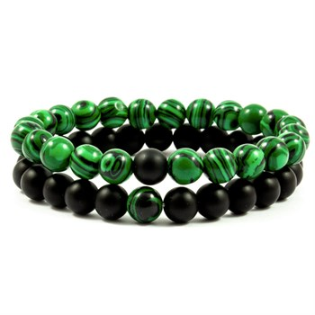Herre Armbånd Duo Stone Green & Black