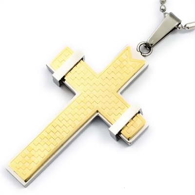 8ed45dcdc98 Stor Guld/Sølv kors halskæde