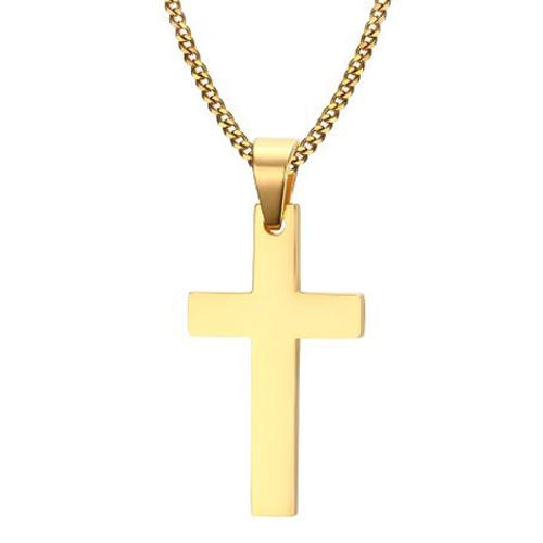 fa7c49a82eb Herre Halskæde Med Guldfarvet Kors