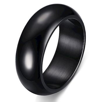 Curve Ring Black Steel