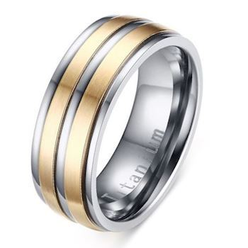 Titanium Herre Ring Duo Gold Line