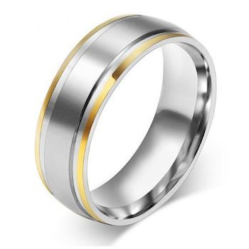 23d896610212 Herre Ring Steel   Gold