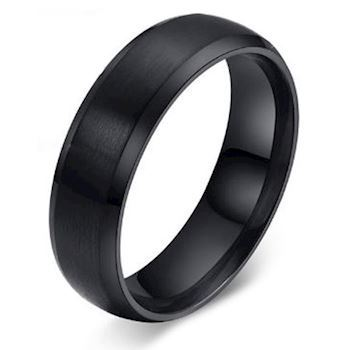 Herre Ring Black Steel 6mm