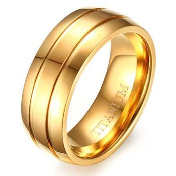 Commodore Titanium Herre Ring Gold