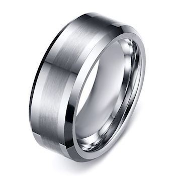 Steel Brushed Tungsten Ring