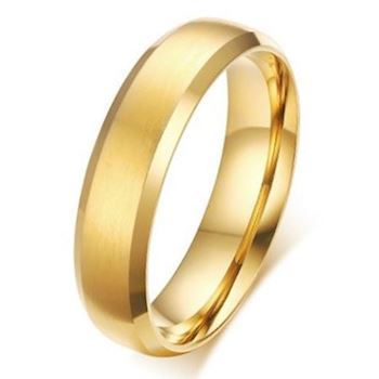 Herre Ring Brushed Gold 6mm
