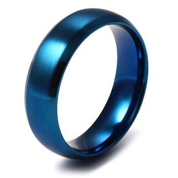 Herre Ring Brushed Blue 6mm