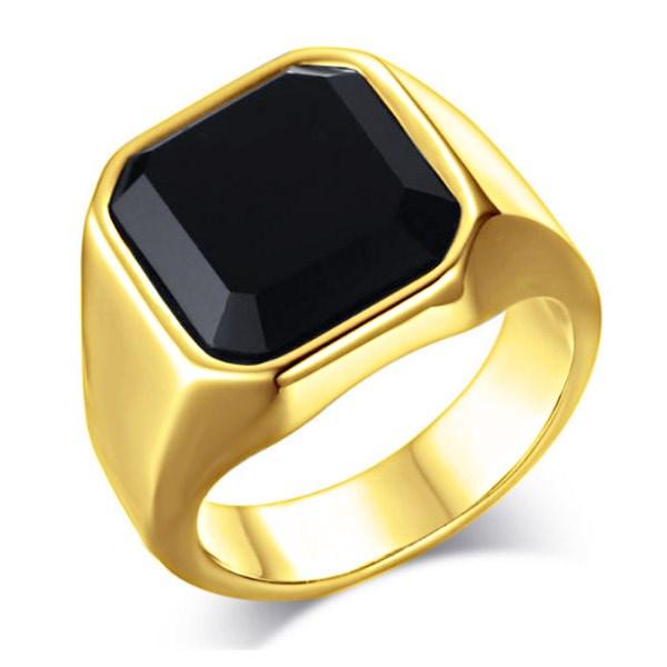 guldring med sort sten til mænd