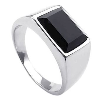 Herre Ring Steel Black Stone Classic