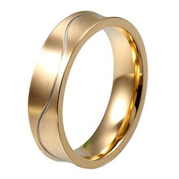 Herre Ring Curve Gold & Silver Line