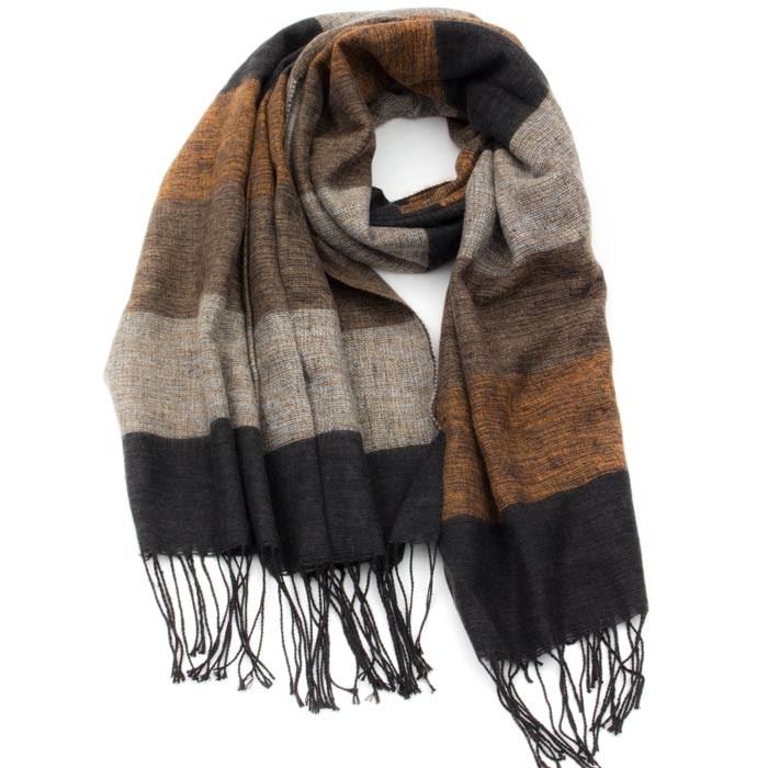 a551ae88b53 Stribet Natur brunt Tørklæde
