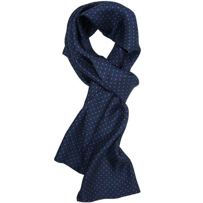 6722ce87412 Herre Tørklæde Silke Blå Prikket