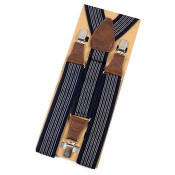 BestMan Y-Sele 3-Clips Sort/Navy Stribet