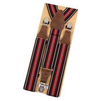 BestMan Y-Sele 3-Clips Darkbrown/Red Striped